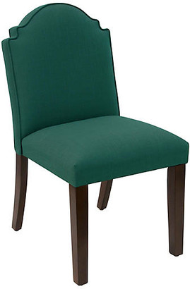 One Kings Lane Elloree Side Chair - Forest Linen - frame, espresso; upholstery, forest
