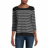 Liz Claiborne Long Sleeve Crew Neck T-Shirt-Talls