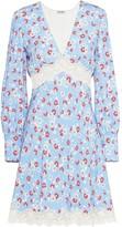 Miu Miu floral print lace panel dress