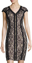 Jax Cap-Sleeve Metallic Lace Zip-Front Sheath Dress, Putty/Black