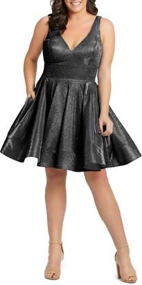 Mac Duggal Sleeveless Sparkle Metallic Fit & Flare Dress