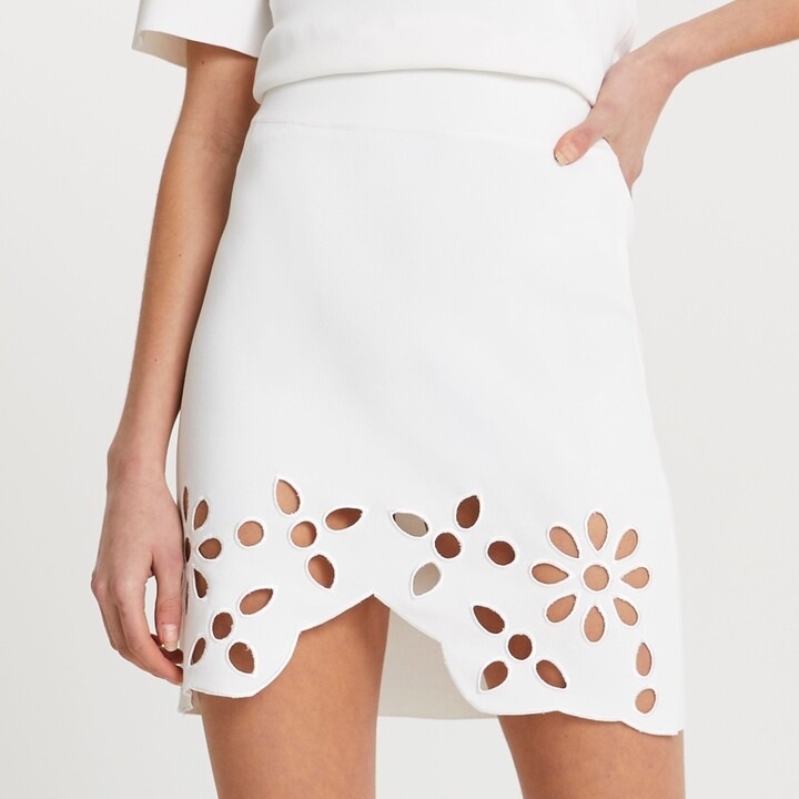 River Island Womens White cut work floral mini skirt