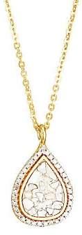 Shana Gulati Women's Catherine 18K Yellow Goldplated, Sterling Silver, White & Champagne Diamond Pendant Necklace