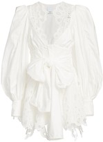 Acler Vicount V-Neck Lace Eyelet-Trim Puff-Sleeve Tie-Waist Mini A-Line Dress