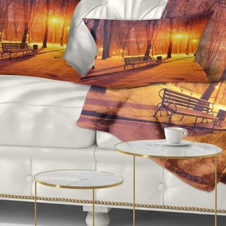 East Urban Home Landscape Printed Benches Covered in Winter Snow Lumbar Pillow East Urban Home