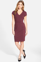 Halogen Seamed V-Neck Ponte Sheath Dress