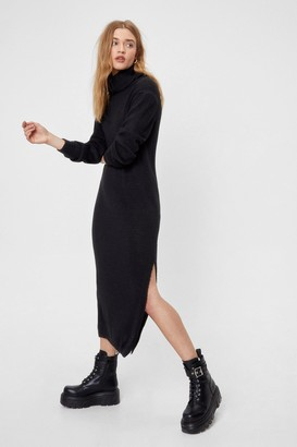 Nasty Gal Womens Let Knit Go Turtleneck Midi Dress - Black - S