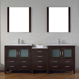 """Virtu Dior 81.4"""" Double Bathroom Vanity Set with Pure White Top and Mirror Base"""