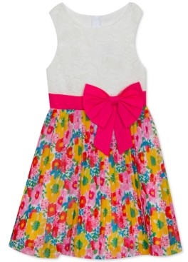 Rare Editions Big Girls Lace & Floral Bow Dress