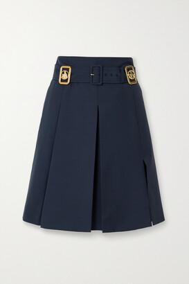 LANVIN - Belted Embellished Wool-blend Skirt - Blue