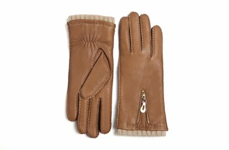 YISEVEN Women Wool Lined Deerskin Leather Gloves Handsewn Stylish Zipper Warm for Winter Dress Motorcycle Driving gift Cognac M