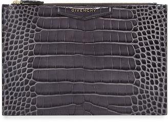 Givenchy Antigona Croc-Embossed Medium Pouch Bag