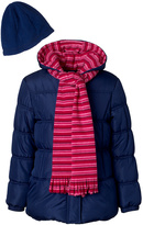Pink Platinum Navy Puffer Coat Set - Toddler & Girls