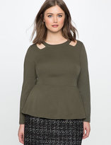 ELOQUII Plus Size Cut Out Neckline Peplum Top