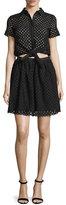 Cynthia Rowley Short-Sleeve Eyelet Popover Dress, Black