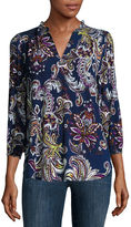 Liz Claiborne Long-Sleeve Printed V-Neck Peasant Top