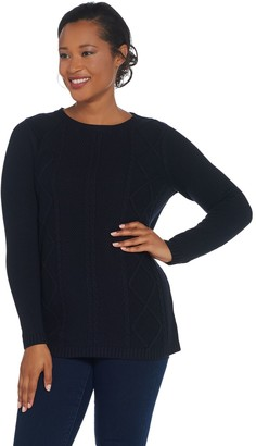Martha Stewart Cable Knit Crew-Neck Long Sleeve Sweater