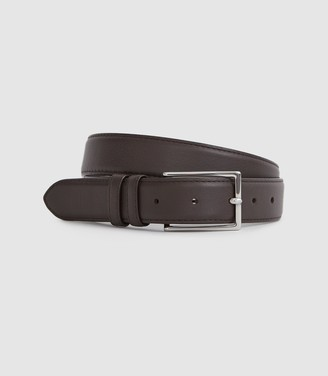 Reiss Martin - Formal Leather Belt in Dark Brown