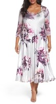 Komarov Plus Size Women's Lace Inset Print A-Line Dress