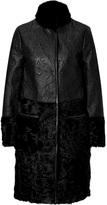 Etro Leather/Lamb Fur Patchwork Coat