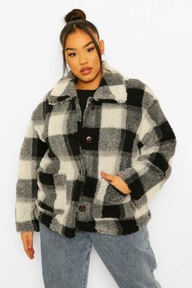 boohoo Plus Check Teddy Faux Fur Button Up Coat