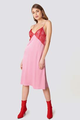 NA-KD Lace Detail Midi Slip Dress Pink