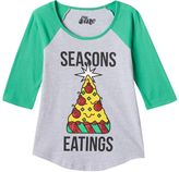 "Mighty Fine Girls 7-16 Seasons Eatings"" Pizza Holiday Tee"