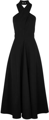 Jil Sander Black halter-neck wool gown