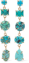 Melissa Joy Manning 14-karat Gold, Sterling Silver And Turquoise Earrings - one size