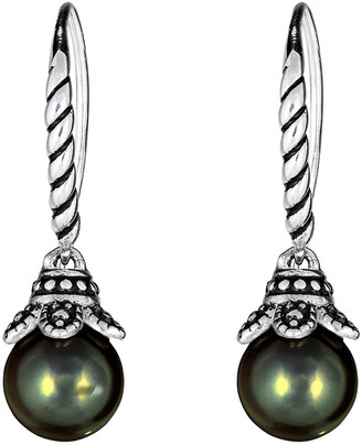 BELPEARL Silver 10Mm Tahitian Dangle Earrings