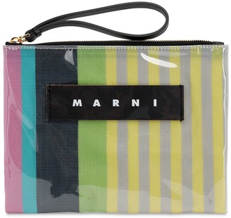 Marni SMALL STRIPED CANVAS & PLASTIC POUCH