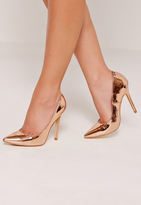 Missguided Rose Gold Mirrored Pumps
