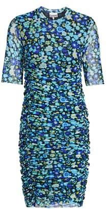 Ganni Floral Ruched Bodycon Dress
