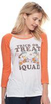 "Awake Juniors' Peanuts ""Trick Or Treat Squad"" Raglan Graphic Tee"