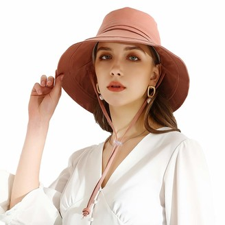 SIMAKARA Womens Sun Hat UPF 50+ Summer Foldable Wide Brim Cotton Safari Walking Gardening Bucket Hat Ladies Floppy Beach Hat with Chin Strap - Adjustable Size (Cream)