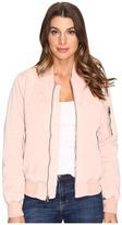 Hudson Gene Puffy Bomber Jacket in Sunkissed Pink Destructed Women's Coat
