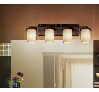 Salinas Brayden Studio 4-Light Vanity Light Brayden Studio Finish: Brushed Nickel, Shade Pattern: Almond
