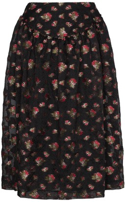 Simone Rocha Floral Embroidered Full Midi Skirt