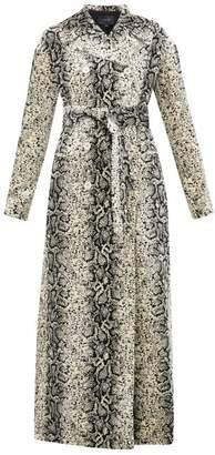 Giambattista Valli Snake-jacquard Velvet Coat - Womens - Beige Multi