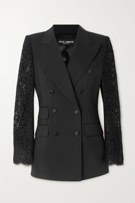 Dolce & Gabbana Double-breasted Topstitched Wool-blend And Lace Blazer - Black