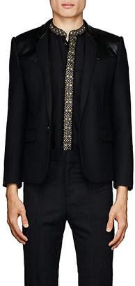 Saint Laurent Men's Herringbone Wool Crop One-Button Sportcoat - Black