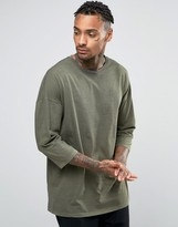 Asos Oversized Longline T-Shirt In Khaki With 3/4 Sleeve And Wash