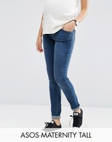 Asos TALL Ridley Skinny Jean In Midwash With Over The Bump Waistband