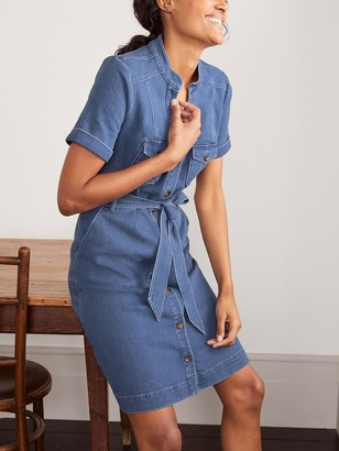 Boden Cecily Utility Dress, Mid Vintage Denim