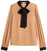 Michael Kors Bow Front Silk Blouse