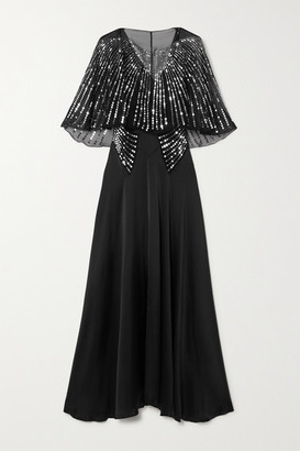 Paco Rabanne Cape-effect Sequin-embellished Tulle And Silk-satin Maxi Dress - Black