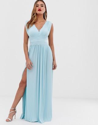 Asos Design DESIGN Fuller Bust premium lace insert pleated maxi dress-Blue
