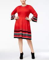 Jessica Howard Plus Size Colorblocked Stripe Rib-Knit Sweater Dress