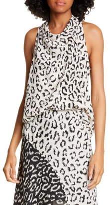 A.L.C. Ella Leopard Print Silk Top