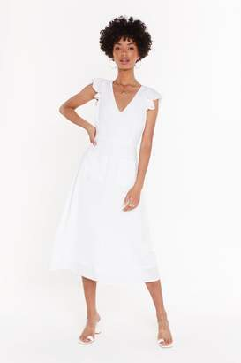 Nasty Gal Womens Linen Pocket Midi Dress - white - 12